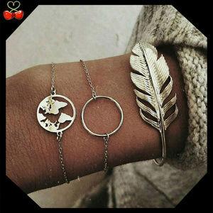 🍒 LAST ONE 😱 BOHO Feather Bracelet Set